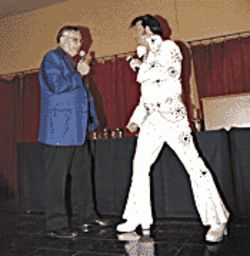 An Elvis impersonator with Joe at his roast. The real Presley toured FBI headquarters in 1970, but Arpaio&#039;s mentor, Hoover, wouldn&#039;t meet with the King.