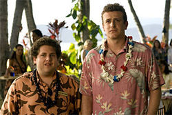 Apatow's regular irregulars: Jason Segel, with Jonah Hill, tries paradise to get out of his Hell in Forgetting Sarah Marshall.