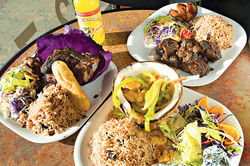 The Jerk Hut&#039;s small selection of traditional dishes delivers big on Jamaican flavors.
