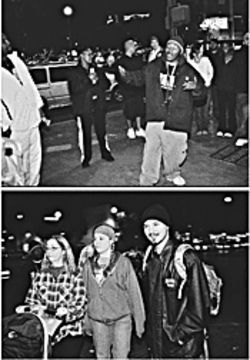 "Top: In the Urban Artists United freestyle circle on Mill Avenue, MC Quest (center) testifies off the top of the dome while God Chaser (far left) looks on. Above: UAU mastermind Vocab Malone, wearing his boombox backpack, and his wife Nicole Rieser (center) peruse Mill after opening night of ""The One."""