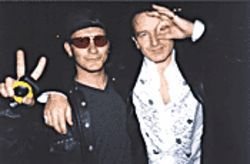 Elevation frontman Dan Burrow with Bono, the man he portrays onstage.