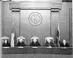 "The recent full Arizona Supreme Court, from left: Rebecca White Berch, Vice Chief Justice Ruth McGregor, Chief Justice Charles E. ""Bud"" Jones, Stanley Feldman and Michael Ryan."