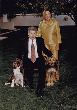 Kevin and Karlene Keogh at their Phoenix home, with two of their three dogs.
