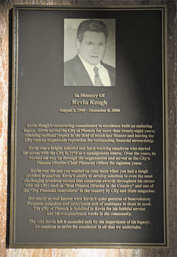 This plaque dedicated to Kevin Keogh hangs in the lobby of the old City Hall in downtown Phoenix.