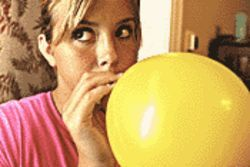 Up, up and away: Hayley Hoffman just says no to helium.
