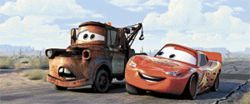 Not fast, not furious: Mater (left, voiced by Larry the Cable Guy) and Lightning McQueen (Owen Wilson) are two occupants of Radiator Springs in Cars.