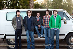 Kinch: Wayne, Brian, Jake, Phillip, and Andrew emerge from their van after a long night on the road.