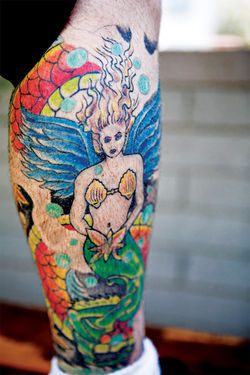 Parlor chef Jared Porter&amp;acirc;&amp;#128;&amp;#153;s intricate body art includes a colorful winged mermaid.