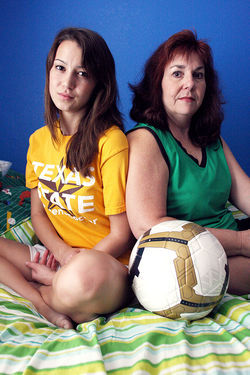 Five years ago, former soccer player Natasha Helmick (left) once played a game half-blind after sustaining a concussion. Today, her mother, Micky, says that it takes her daughter three times as long to complete mental tasks.