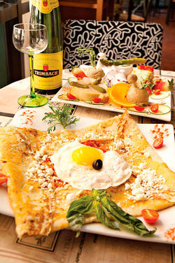 La Petite France's menu includes regional specialties, as well as crepes — lots of crepes.