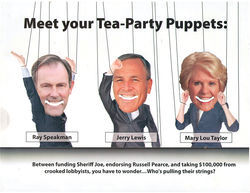"The Dems lie like they breathe in this attack mailer, calling Republican Jerry Lewis, the guy who defeated state Senate President Russell Pearce in the 2011 recall, a ""Tea Party puppet"" and claiming Lewis is guilty of ""endorsing Russell Pearce."""