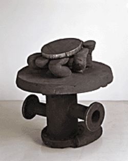 "Banker's Table, 2003-2004, stoneware and steel, 34"" x 32"" x 33"""