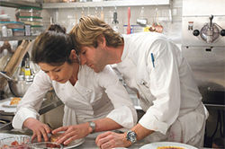 What's for dessert? Catherine Zeta-Jones and Aaron Eckhart get saucy in the kitchen in No Reservations.