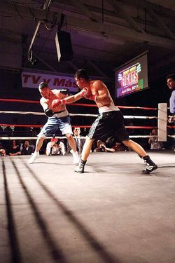 Martin Vierra (left) battles Marco Mendias  during the first Friday Night Fights event in Phoenix.