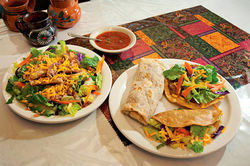Los Jarritos' menu includes all the usual suspects, with each dish using the restaurant's quirky combination of ingredients and cooking styles.