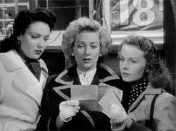 Going postal: From left, Linda Darnell, Ann Sothern and Jeanne Crain receive a mysterious parcel in A Letter to Three Wives.