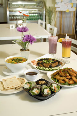 Even meat-eaters will enjoy the clever vegan cuisine at cheerful Loving Hut.