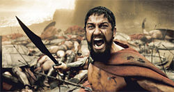 Shot through the Spart: Leonidas (Gerard Butler) will never give up in 300. But don't let that spoil the suspense.