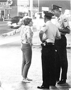 Pioneering head shop owner Christie Bohling is hassled by the fuzz, 1967.