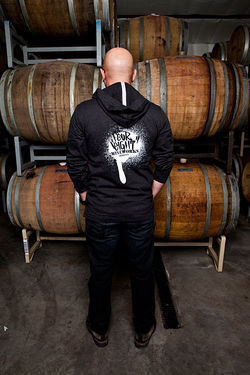 Keenan shows off Four Eight Wineworks' graffiti-style logo