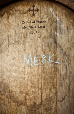 A cask of wine from Merkin Vineyards