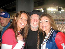 Mullany with Willie Nelson and a friend at Super Bowl XLII in Glendale.