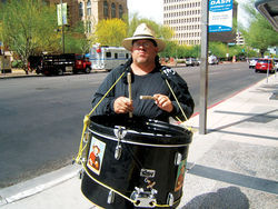 Guadalupe activist William Robles with his drum.