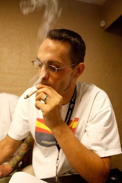 Cardholding patient and medical-marijuana advocate Bill Hayes tokes up.