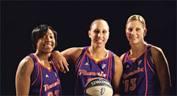 The Mercury's trio of top league scorers: (From left) Cappie Pondexter, Diana Taurasi, and Penny Taylor.