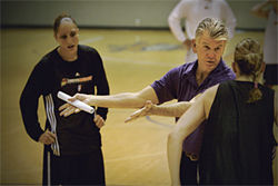 Coach Paul Westhead gives pointers during a high-octane practice.