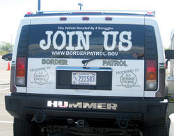 A Border Patrol truck advertising the federal agency during a Customs and Border Protection job fair in Tucson.