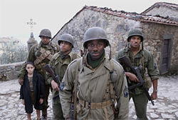 "War is hell — and other clichés: Omar Benson Miller, Michael Ealy, Derek Luke, and Laz Alonso trek through Tuscany in a ""white man's war."""