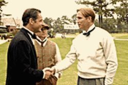 Tee time: Jeremy Northam and Jim Caviezel are golf rivals in Bobby Jones: Stroke of Genius.