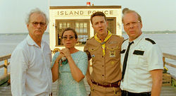 Bill Murray, Frances McDormand, Ed Norton, and Bruce Willis star in Moonrise Kingdom.