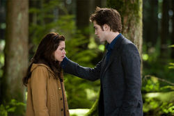 Bloodless lust: Kristen Stewart and Robert Pattinson generate little heat in The Twilight Saga: New Moon.