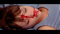 "A scene from Jean-Luc Godard's Pierrot le Fou, one of the first ""gory"" movies, in 1964."