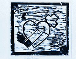 A woodcut print by a project participant.