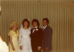 Greg and Cindy West were married just months before he died. Susan McCullough is to the left of the bride.