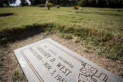 Greg West's grave marker in the West Valley.