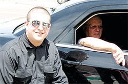 "National Socialist Movement member Thomas Coletto, a.k.a. ""Vito Lombardi,"" with Sheriff Joe Arpaio on May 2."