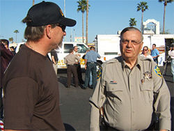 U.S.A. founder Rusty Childress with Sheriff Joe, inside the MCSO's taped-off command post on March 21, 2008.