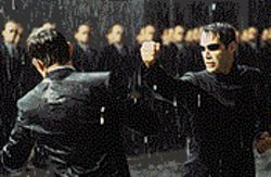 Neo fight: Hugo Weaving and Keanu Reeves battle it out in The Matrix Reloaded.