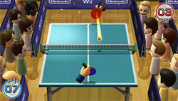 Wii Plays table tennis: Like Pong with spectators.