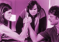 One of the few redeeming qualities of Saving Silverman is Jack Black's performance as J.D., shown here overseeing arm-wrestling between super-bitch Judith (Amanda Peet) and Wayne (Steve Zahn).