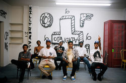 Odd Future Wolf Gang Kill Them All, minus Domo Genesis. He was away at school at Arizona State.