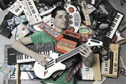 Play boy: Corey Busboom and his collection of circuit-bent gizmos.