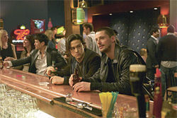 Chump bucket: Matthew Goode (right) reels in Joseph Gordon-Levitt in The Lookout.