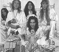 They're only in it for the money: The Alice Cooper Band poses in full Billion Dollar Babies regalia.