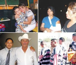 "Scenes from the struggle: Top left, Celia Alajandra Alvarez Herrera, with her son Miguel; top right, Maria del Carmen Garcia-Martinez (with broken arm); bottom left, Julio Mora with his father Julian; and, bottom right, inmates in Joe Arpaio's infamous ""200 Mexican march."""