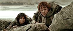 Ring leaders: Elijah Wood and Sean Astin continue their perilous journey in The Lord of the Rings: The Two Towers.